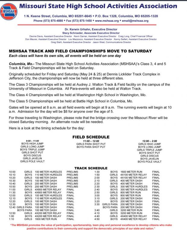 Missouri Class 3-4-5 Championship Schedule Updates